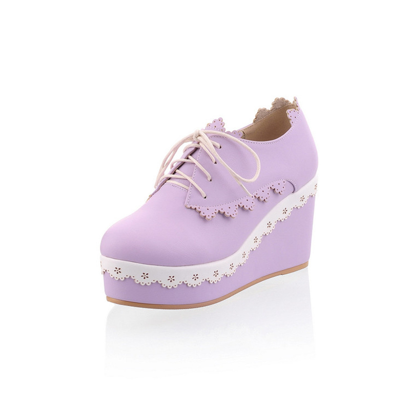 Spring Lace-up Platform Wedge Princess Girl Shoes Lolita 8cm High Heel Sweet Lace Trim Casual Shoes sky blue red leather princess girl sweet lolita wedge mary jane shoes