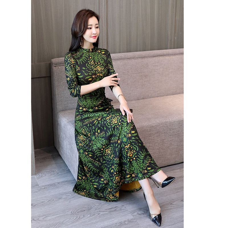 Women Casual Long Sleeve Nipped Waist Floral Pattern A-Line Maxi Long Dresses Elegant O-Neck Ankle-Length Dress