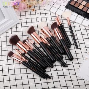 Image 3 - Docolor 15PCS Makeup Brushes Set Foundation Powder Eyeshadow Make up Brush Synthetic Hair Goat Hair Brush Set Make up Tools