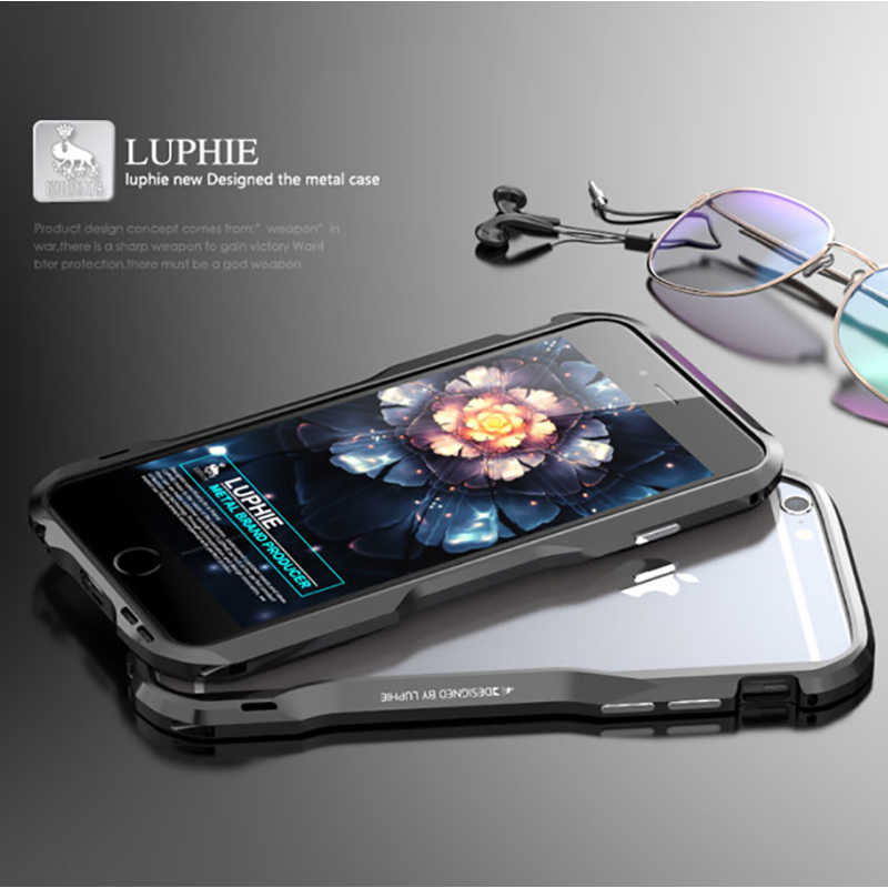 Luphie Metal Bumper Voor iPhone 6 7 8 XS Max Aluminium Metal frame Case Voor Apple iPhone 6 S plus 5.5 inch Armor Case