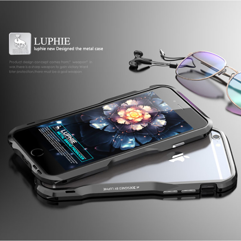 Luphie Metal Bumper For iPhone 6 7 8 XS Max Aluminum Alloy Metal frame Case For Apple iPhone 6S Plus 5.5 inch Armor CaseLuphie Metal Bumper For iPhone 6 7 8 XS Max Aluminum Alloy Metal frame Case For Apple iPhone 6S Plus 5.5 inch Armor Case