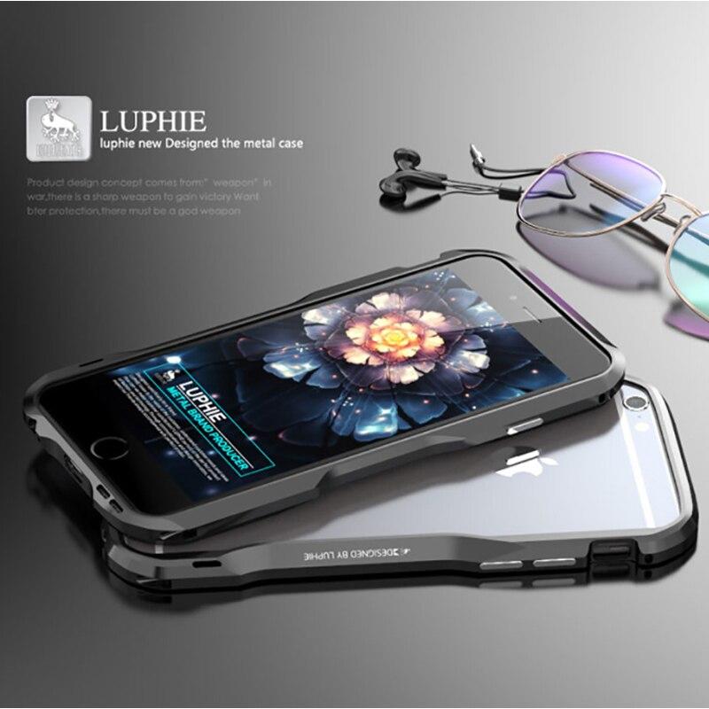 "Цена за Защитный бампер Luphie для iPhone 6 4.7 ""алюминиевый сплав металлический каркас чехол для Apple iPhone 6 S Plus 5.5 дюймов Броня чехол"