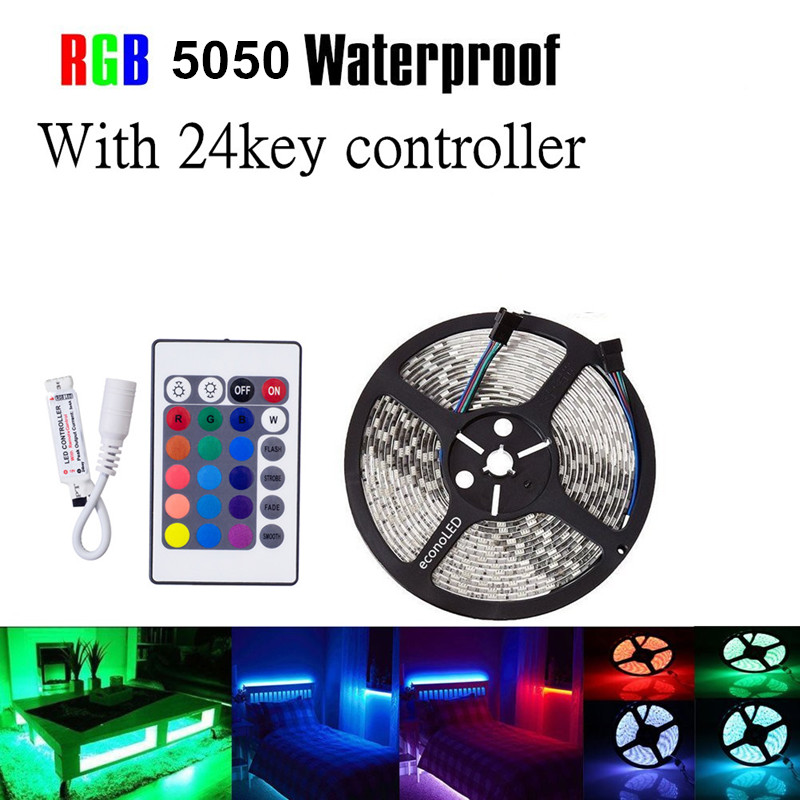 5M DC 12V 5050 SMD2835 Waterproof RGB LED strip Flexible,300 LED tape +24 key remote controller Kit Flexible LED Tape kit