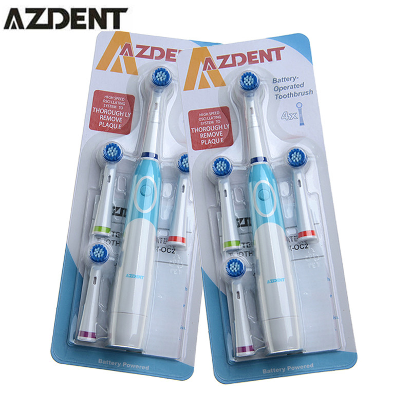 2 Set AZDENT Electric Toothbrush with 4 Tooth Brush Heads Replacement  Teeth Whitening Dente Oral Hygiene Rotation Tooth brush 10 pouches crest teeth whitening strips advanced vivid 3d white original oral hygiene tooth whitestrips no box free shipping