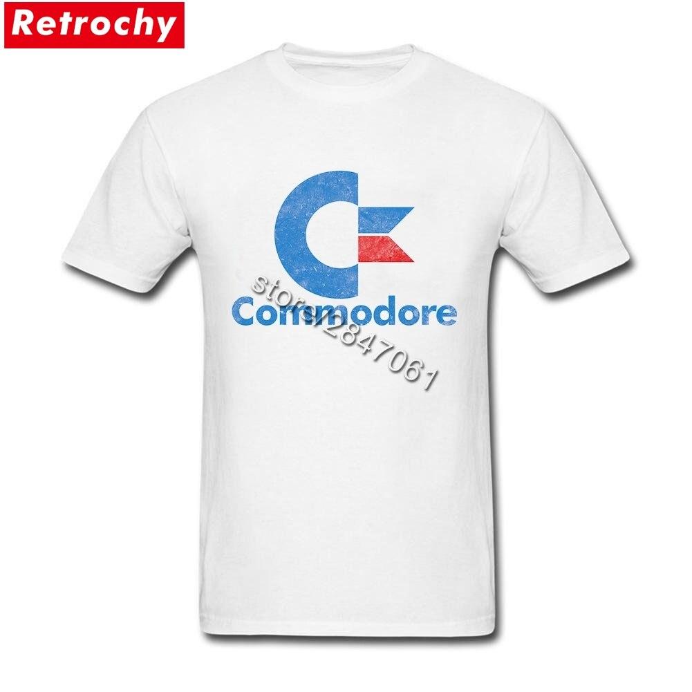 Пользовательские печати Винтаж Commodore 64 т рубашка Для мужчин Рубашка с короткими рукавами экипажа Средства ухода за кожей шеи 100% хлопок футб...
