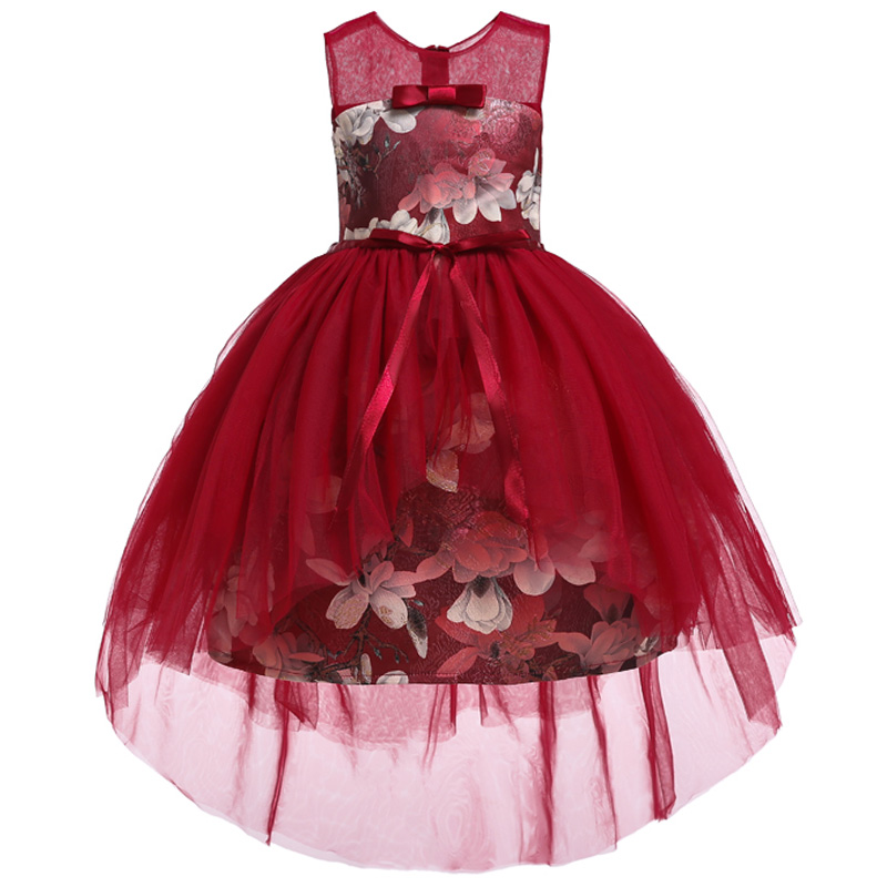 Flower     Girl   Romantic Wedding Wine Red Embroidery Party   Dress     Girl   Princess Campus Opening Ceremony Party   Dresses   vestidos
