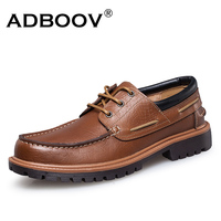 ADOBOOV Large Sizes 39 47 Cow Leather Men Shoes Classic Three Eye Boat Shoes 2018 New