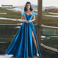 Blue Off The Shoulder Evening Dresses Satin Floor Length High Split Sexy Long Prom Gowns Formal Party Dresses For Women