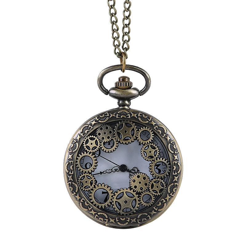 Unisex Bronze Steampunk Pocket Watch Hollow Quartz Watches Clock Pendant Necklace Sweater Chain for Men's Women Gift vintage bronze steampunk snitch ball quartz pocket watches with pendant necklace chain children kids best xmas gift