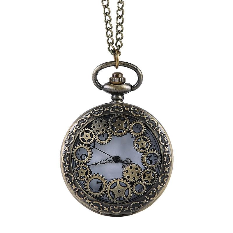 Unisex Bronze Steampunk Pocket Watch Hollow Quartz Watches Clock Pendant Necklace Sweater Chain For Men's Women Gift