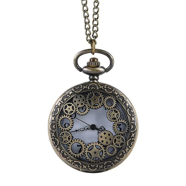 Unisex Bronze Steampunk Pocket Watch Hollow Quartz Watches Clock Pendant Necklac