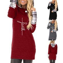 58e0e8336 Nueva moda de Otoño de las mujeres casuales de fe impresión Sudadera con  capucha de manga larga camisa Jersey Plaid Tops plus ta.