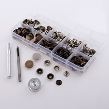40 Set 17mm Metal DIY Sewing Press Studs Button Snap Fastener for Bags Clothes Jeans Button+3pcs Fixing Tools Kit+Storage Box