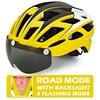 Victgoal capacete de bicicleta mountain bike, capacete de luz para ciclismo moldado integralmente à prova de vento com óculos de proteção 29
