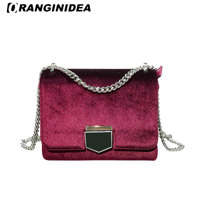 2018 New Velour Messenger Bag Women Small Chain Shoulder Crossbody Bags Lady Vintage Velvet Flap Bags Female Handbags Bolsas 2017 hot fashion women bags 3d diamond shape shoulder chain lady girl messenger small crossbody satchel evening zipper hangbags