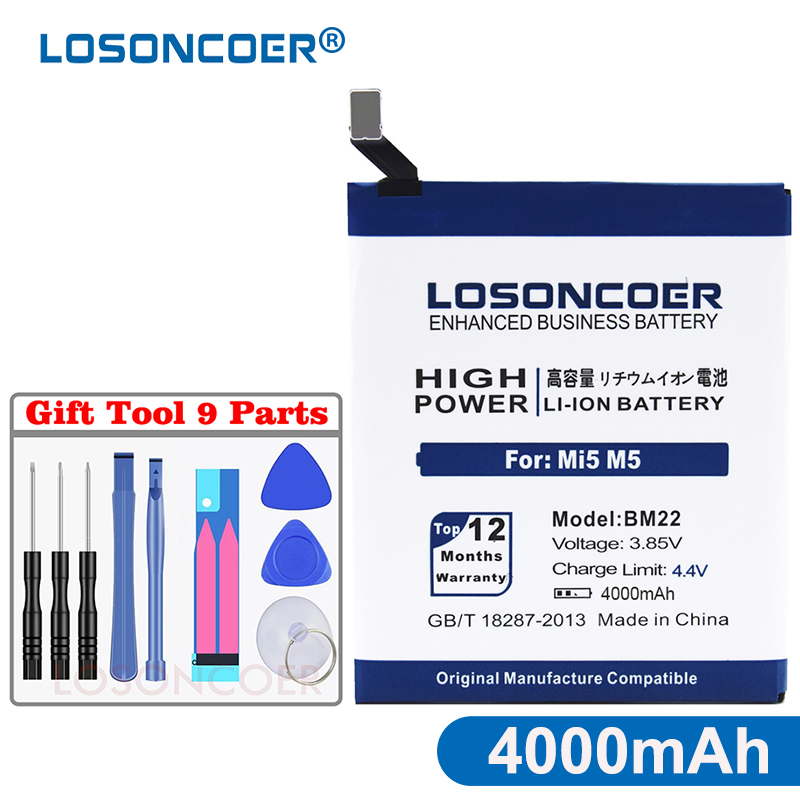 LOSONCOER Bm22-Battery Gift-Tool Xiaomi 100%Original 4000mah For Mi-5/mi5 M5 High-Capacity