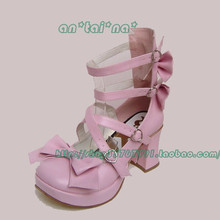 Princess sweet lolita shoes gothic lolita Tai an na lolita cos punk bow dress high-heeled shoes 9817 pink  custom for 3-5days PU