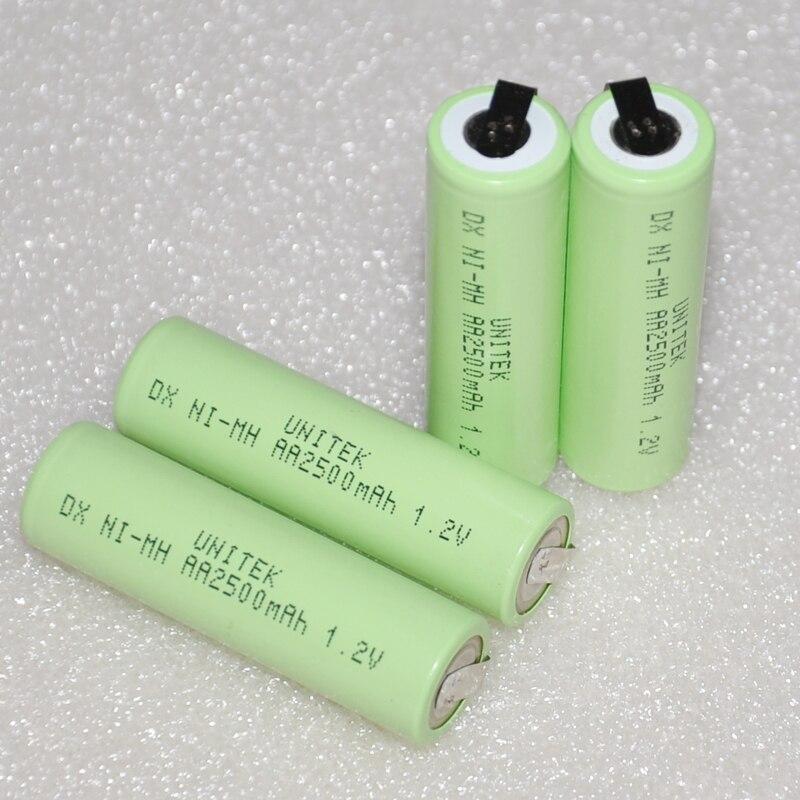 Unitek 1.2 V AA batería recargable 2500 mAh 2A NiMH del ni-mh paquete con tabs pasadores para Philips Braun eléctrica afeitar cepillo de dientes