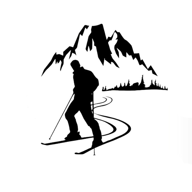 13 2cm13 6cm skier sports mountain snow car stickers vinyl decals black silver