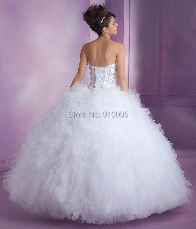 Aliexpress.com : Buy White Puffy Quinceanera Dresses Debutante ...