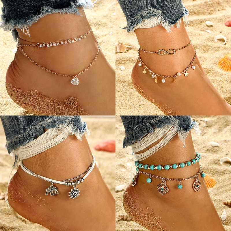 Simple Heart Female Anklets Barefoot Crochet Sandals Foot Jewelry Leg New Anklets On Foot Ankle Bracelets For Women Leg Chain