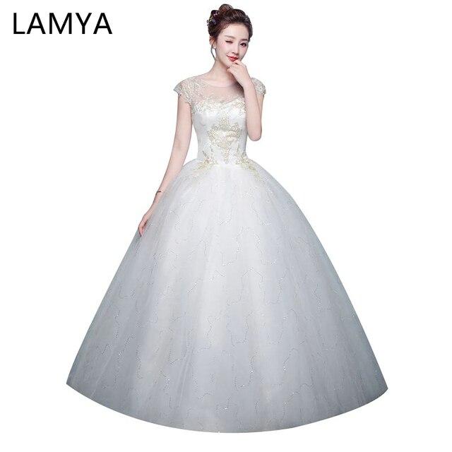 e9580b0d6d LAMYA Haft Suknia Ślubna 2018 Vintage Dostosować Lace Up Ball Suknia  Eleganckie Suknie Ślubne Dostosowane Abiye