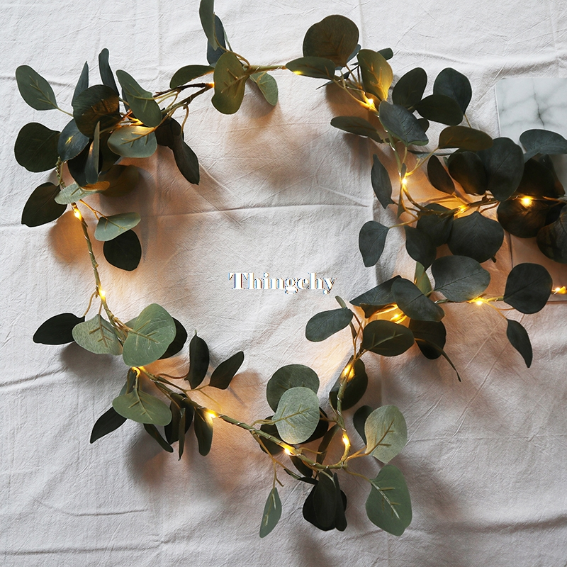 Ivy Eucalyptus leaves 1 8m garland fairy lights led string lightsgarland wedding home decoration mini led copper lights