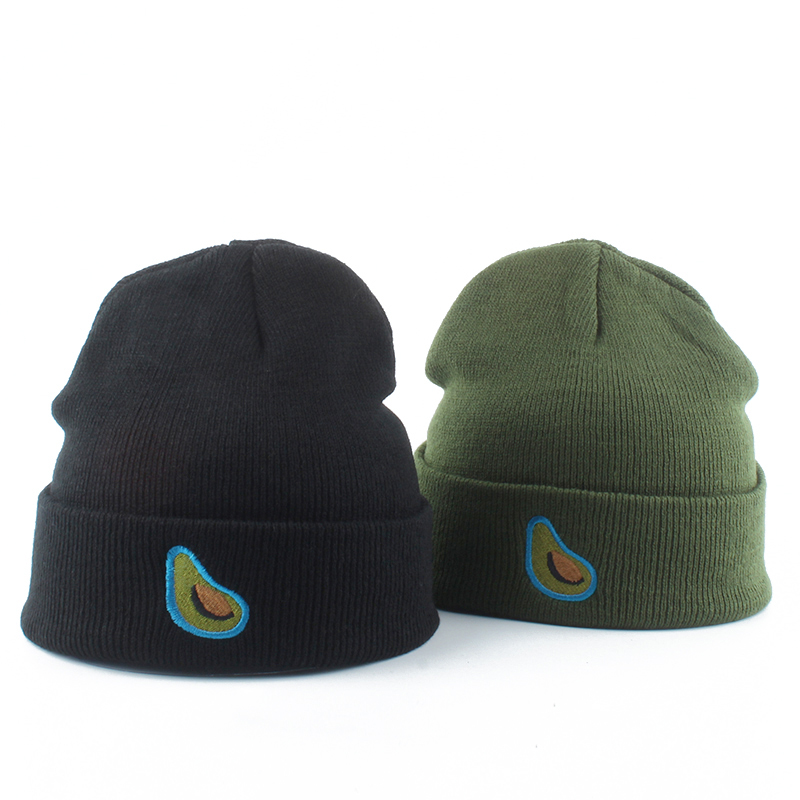 Women   Beanie   Winter Knitted Hat Fruit Avocado Embroidery   Skullies     Beanies   For Men Autumn Womens Hat Female Warm Cotton Cap