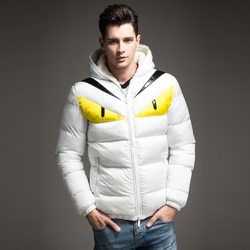 2018 Новая модная дизайнерская мужская зимняя куртка с контрастным хлопковым подкладом и большим глазом, пуховое пальто с капюшоном, Veste Homme Hiver - 5
