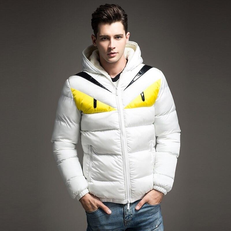 Nuevo diseño de moda 2018 chaqueta de invierno para hombre gran contraste de Ojos de algodón acolchado Parka Puffer con capucha Veste Homme Hiver - 5