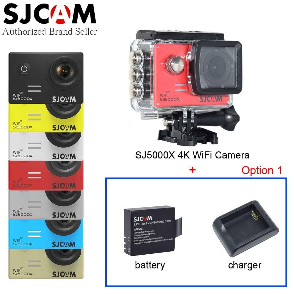 Prix pour Sjcam sj5000x 4 k wifi elite d'action vidéo caméra gyro 30 m plongée étanche mini sport en plein air caméscope dv + batterie supplémentaire + chargeur