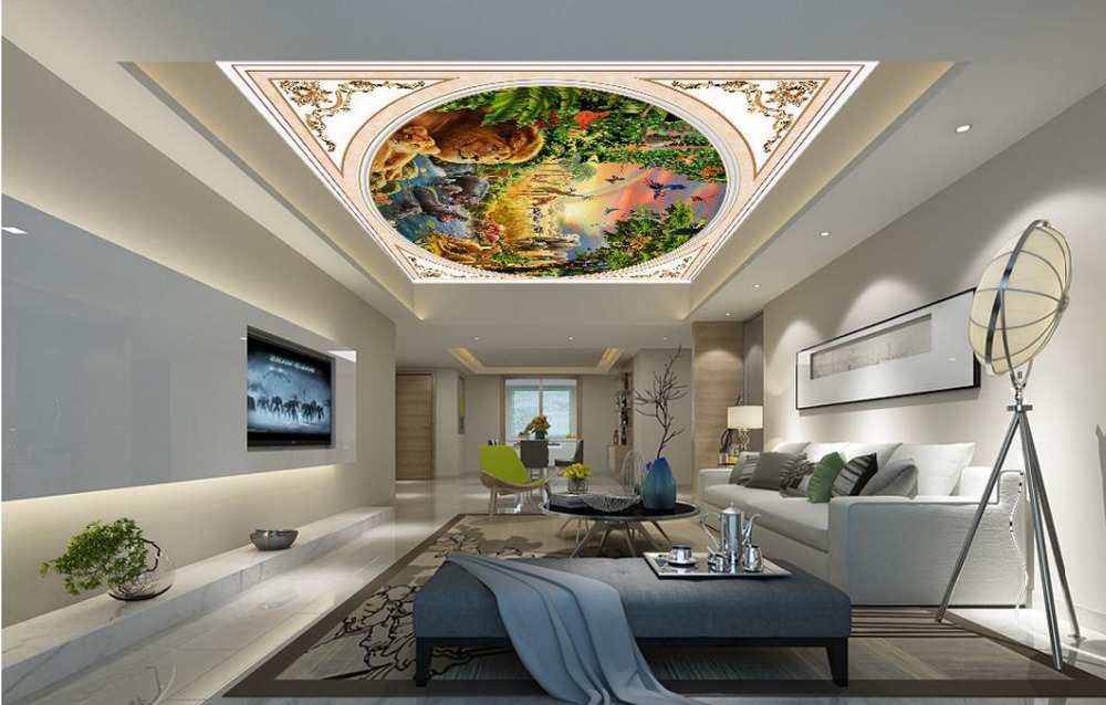 Benutzerdefinierte 3d Decke Wandmalereien Handgemalte Waldtiere Tapeten Fr Wohnzimmer Tapete Fotowand Mural