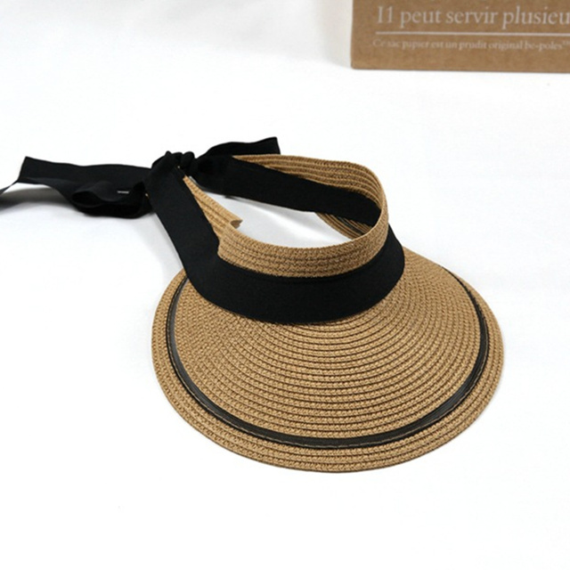 Summer Women Ribbon Bow Straw Visor Sun Hat Lady Empty Top Hats Wide Brim Beach  Sun d1a8a016639f