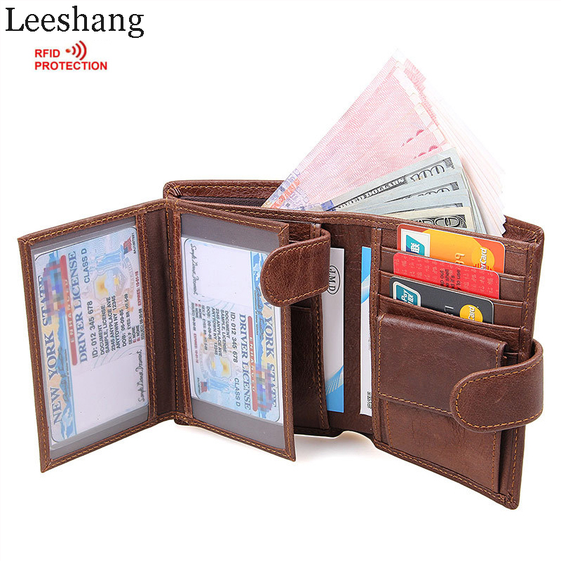 Leeshang Crazy Horse Vintage Wallet Genuine Leather Men Wallets Brown Short With Coin Pocket Leather Purse Credit Card Holder цена и фото