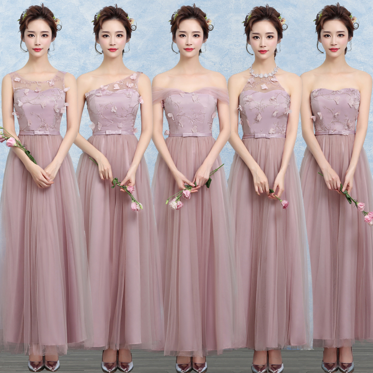 Multi Neck Off Shoulder Maxi Chiffon Young Girls Graduation Prom Wedding Dress Teenager Evening Party Bridesmaid Gown dark gray off shoulder jumpsuit with multi functional neck