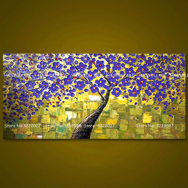 Canvas Painting palette knife 3D texture acrylic Flower tree ...