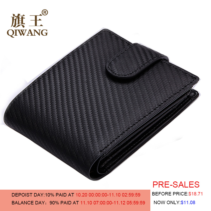 QIWANG Luxury Carbon Wallet High Quality Carbon Leather Wallets Hold More Business Man Tri-fold Wallet with ID Cards Holder simple women s wallet with tri fold and letter design