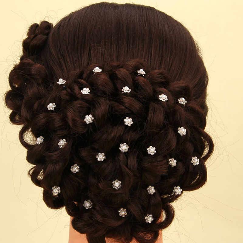 20 шт. Цветочные головные уборы жемчужные цветочные аксессуары на палочках для волос Свадебные Заколки женские шпильки вечерние украшения для волос с кристаллами