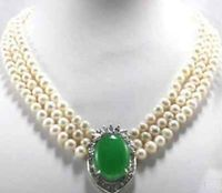 Hot sale new Style >>>>>3Strands 7-8mm White Culutred Pearl Pearl &Necklace