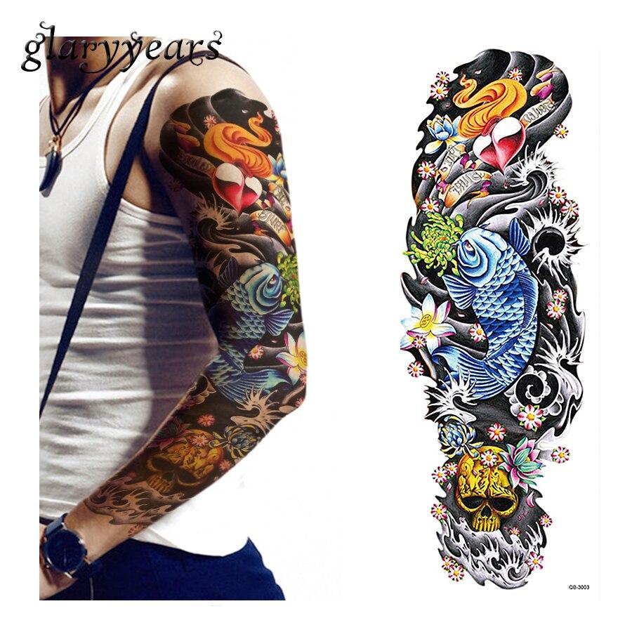 1 feuille pleine fleur bras tatouage autocollant dame hommes