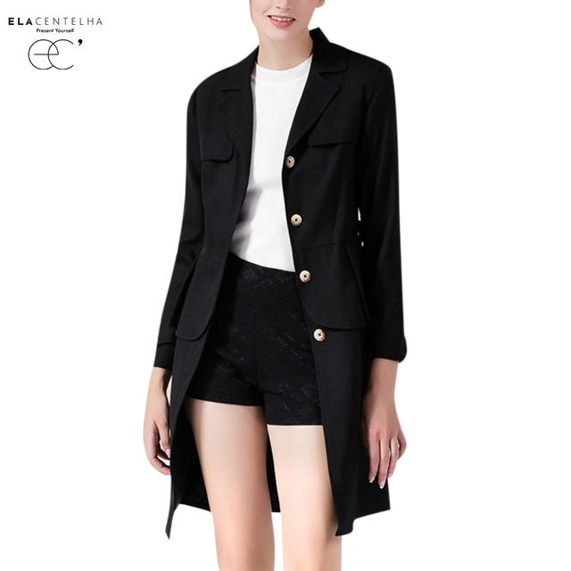 ElaCentelha Women Coat 2016 New Single Breasted Belt Slim Trench Coats Autumn&Winter Long Sleeve Solid Long Coats & Outerwear