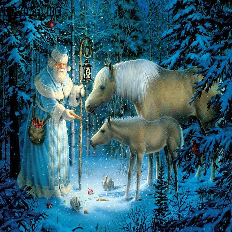 На заказ полная квадратная алмазная живопись «сделай сам» 5D Санта Клаус и Пони картина из страз по номеру вышивка домашний Настенный декор