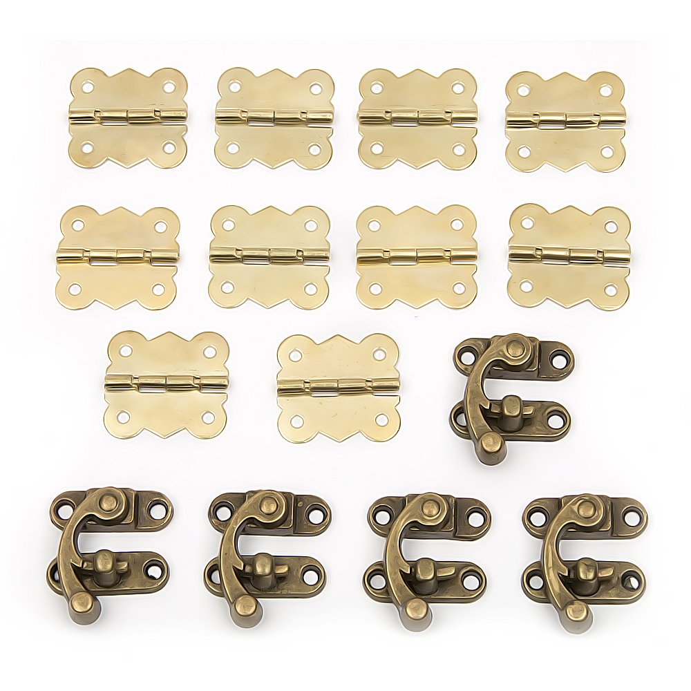 15pcs Antique Drawer Jewellery Wood Box Cabinet Door Hasp Lock Hook Latch Butt Hinges For Fittings Furniture 10pcs naierdi mini bronze gold hinge square antique door hinges for wooden cabinet drawer jewellery box furniture hardware