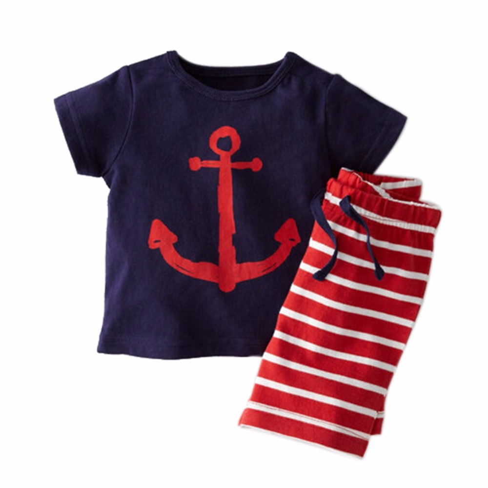 2PCS/Set Kids Summer Fashion Clothes Sets Pirate Ship Cartoon Printed T-Shirt+ Stripe Pant For Kids Boy Clothing Set family fashion summer tops 2015 clothers short sleeve t shirt stripe navy style shirt clothes for mother dad and children