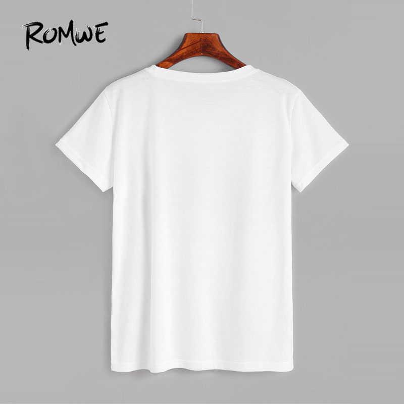 1bc4e2f2d2c3 ... ROMWE Casual White Skull Print T-shirt Spring Round Neck Short Sleeve  Rock Tee Shirt ...