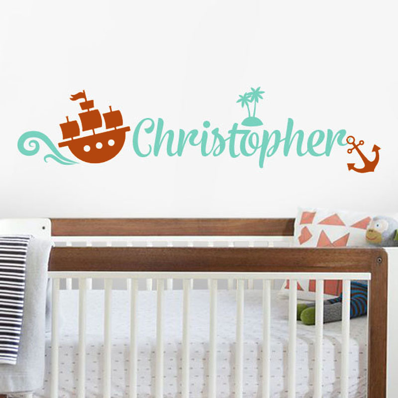 Customized Name Pirate Ship Wall Stickers Anchor Removable Home Decor Stickers  Wall Decals Vinyl(China Part 73