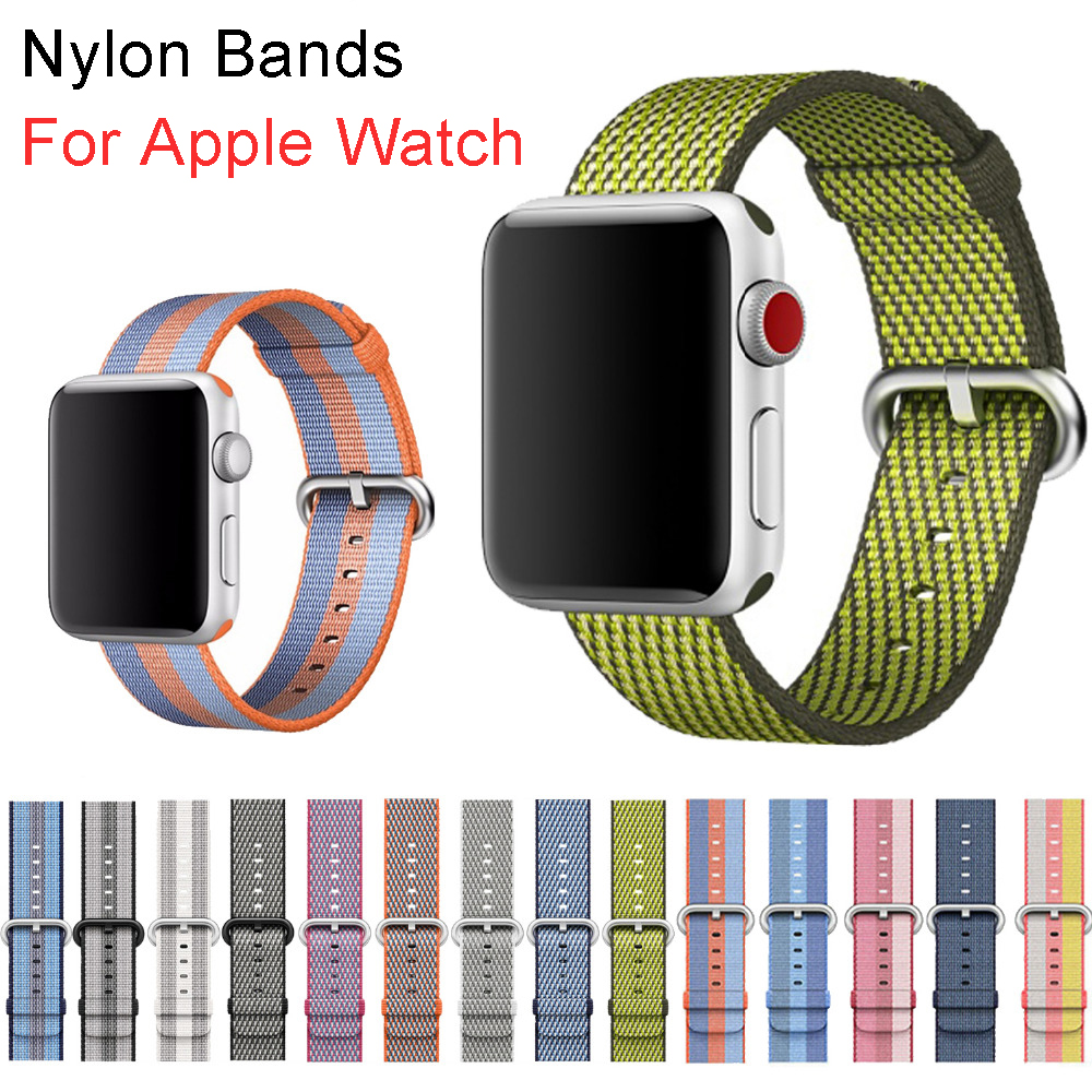 Sport woven nylon strap band for apple watch 3 42mm 38mm wrist bracelet belt fabric-like nylon band for iwatch 3/2/1 band for apple watch pink stripes woven nylon fabric buckle watchband 38mm 42mm sport strap for iwatch 2 watches accessories