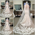 2016 Hot Bride Veils White Applique Tulle 3 meters veu de noiva long wedding veils bridal accessories lace bridal veil