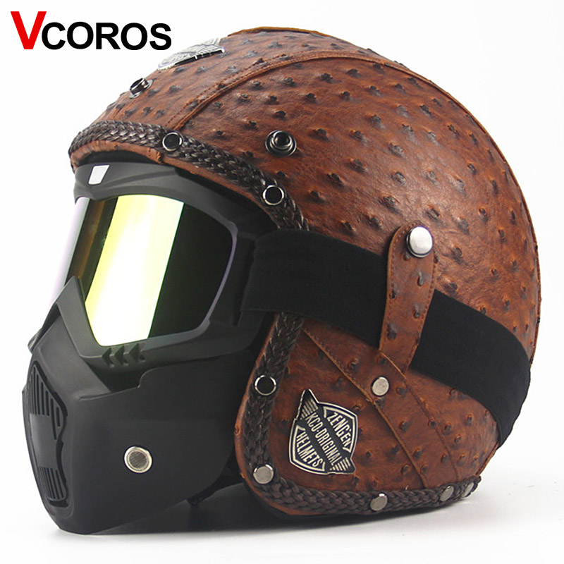 VCOROS vintage motorcycle helmet harley open face racing motorbike helmet and classic mask retro moto scooter helmets vespa black adult open face half pu leather helmet harley moto motorcycle helmet vintage motorcycle motorbike vespa with mask