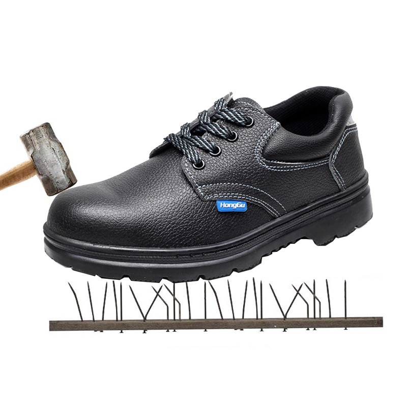 Safety Shoes Skid Resistant oil resistant Safety Steel Head Anti Smashing Puncture Protective Shoes wood grain flannel skid resistant rug